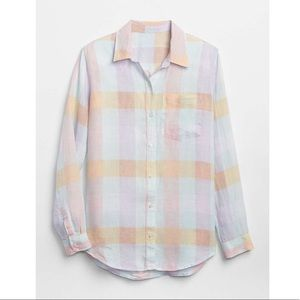 2018 Gap Oversized Linen Plaid Shirt